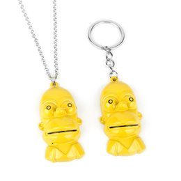 chains anime Australia - Classic Comic Cartoon Figure Toys Homer J. Necklace Trinket Pendant Keychain Men Woman Long Chain Anime Jewelry-30