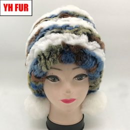 $enCountryForm.capitalKeyWord Australia - Hot Elastic Real Rex Rabbit Fur Hat Women Winter Knitted Real Natural Rex Rabbit Fur Caps Lady Warm Three Fur Beanies
