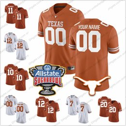 China Custom Texas Longhorns Any Name Number 2018 Sugar Bowl 11 Sam Ehlinger 12 Colt McCoy 20 Campbell 10 Young College Football Jerseys S-3XL cheap black sugar suppliers