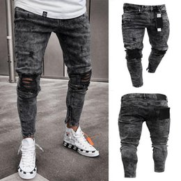 Wholesale hole wash jeans resale online – designer Mens Jeans Snow Grey Spark Draped Washed Long Pencil Pants Fashion Elastic Knee Holes Zipper Jeans