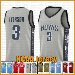 3 Iverson NCAA Basketball Jersey Georgetown Arizona State University Betel Irish High School de 23 James 2 Leonard 3 Wade 11 Irving 30 Curry em Promoção