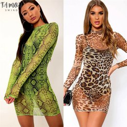 Wholesale sexy skin dresses for sale - Group buy Sexy Women Snake Skin Leopard Print Slim Dress See Through Sheer Mesh Dress Long Sleeve Party Clubwear Mini Dresses Sundress New