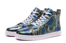Cheap Leisure Shoes For Men Australia - Arrival Green Snakeskin Genuine Leather High Top Red Bottom Sneakers for mens womens cheap men leisure dress shoes trainer footwear