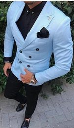Wedding Casual Suits For Mens NZ - TPSAADE Men Suits Light Blue Wedding Tuxedos For Men Slim Fit Mens Suit Clothing Shawl Collar Business Casual Grooms Wear Costum