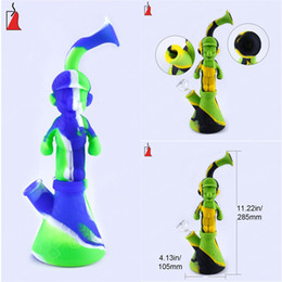 big silicone bong NZ - Silicone glass water bongs Mario glass oil burner pipe big water bong VS recycler bong dab oil pipe