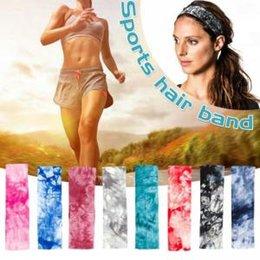 Women yoga headband online shopping - Women Tie dyed Sport Headband dyed colorful Elastic Fitness Yoga Sweatband Outdoor Gym Running Tennis Basketball Wide Hair Bands AAA1792