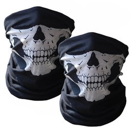 Bicycle Black Ghost Australia - 2PCS Cool Bicycle Ski Half Face Mask Ghost Scarf Multi Use Neck Warmer COD