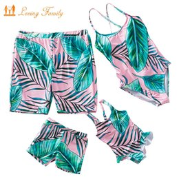 family swimwear UK - Tropical Leaf Print Summer Holiday Mother Daughter Swimsuit Family Matching Swimwear Women Girl One Piece Men Boys Beach Shorts