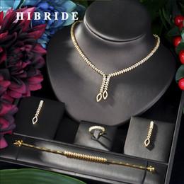 $enCountryForm.capitalKeyWord Australia - HIBRIDE Shining Brilliant Cubic Zircon 4pcs Bridal Set for Women Fashion Wedding Zircon CZ Dubai Bridal jewelry Set N-06