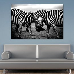 Zebra Print Art Australia - 1 Pcs Black and White Canvas Art Two Zebra Animal Pictures Poster Print Wall Art Painting Home Decoration For Living Room No Frame