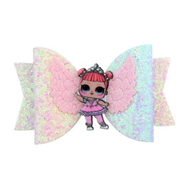 $enCountryForm.capitalKeyWord NZ - Doll with Wing Princess Hairgrips Glitter Hair Bows Clip Dance Party Bow Girls Hairpin Hair Accessories