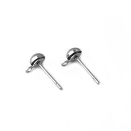 348adbc28 Surgical Stainless Steel Ear Stud Earrings Post 5mm Circle Hollow Half Ball  with Loop Connectors Hanger Stuffs DIY Findings