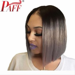 gray lace front human hair wigs NZ - PAFF Ombre Gray Lace Front Human Hair Wig with Black Roots 150 Density Lace Frontal Short Bob Cut 13*3 Wig Brazilian Remy Hair