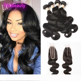 body wave hair one piece Canada - Peruvian Human Hair Extensions 4 Bundles With 2X6 Lace Closure 5 Pieces One Set Virgin Hair Body Wave Bundles With 6*2 Closure