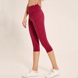 Workout Capri Leggings Australia - Women's High Waist Gym Yoga Capri Pants Tummy Control Workout Leggings 4 Way Stretch Outdoor Running Crop Pants Side Pockets #826111