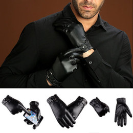 Fashion Male PU Leather Gloves Full Finger Mens Motorcycle Driving Winter Keep Warm Touch Screen Mittens New Black on Sale