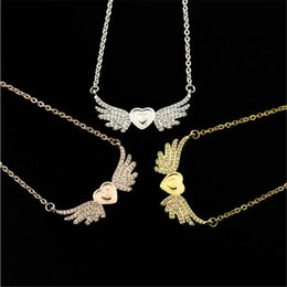 $enCountryForm.capitalKeyWord Australia - LULU-PIG Hot selling new 925 silver new tricolour heart angel wings fashion beautiful necklace XJ-1