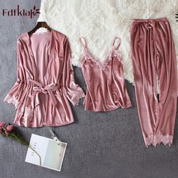 $enCountryForm.capitalKeyWord Australia - Fdfklak Sexy 3 Pieces Pajamas For Women Long Sleeve Winter Pyjama Suit Gold Velvet Warm Pajama Set Sweet Lace Sleepwear Clothes T190618