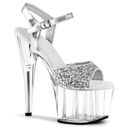 Yellow Glitter Pumps NZ - 15cm Glitter silver transparent platform ultra high heels designer pumps women fashion bridal wedding shoes size 34 to 40