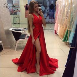 $enCountryForm.capitalKeyWord Australia - 2019 V-Neck A Line Prom Dresses Tank Sleeve Backless Long Formal Floor Length Evening Party Gowns Plus Size Liyuke