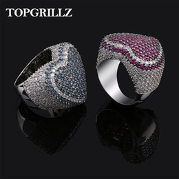 Discount gold animal rings for men - New Red Bule Color Heart Ring Micro Pave Cubic Zircon Round Ring Full Iced Out Bling Hip Hop Punk Men Women Jewelry For