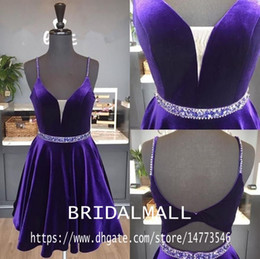 short blue velvet homecoming dress UK - Princess Beaded Crystals Purple Velvet Short Prom Dresses 2020 Spaghetti Straps Cocktail Party Gowns Backless Homecoming Graduation Dress