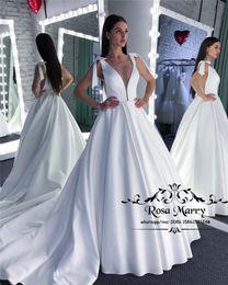 Greek Strap Wedding Dress Australia - Modest Plus Size White Cheap Wedding Dresses 2019 A Line Ilusion V-Neck Simple Satin Bow Country Greek Style Bridal Gowns Vestido De Novia