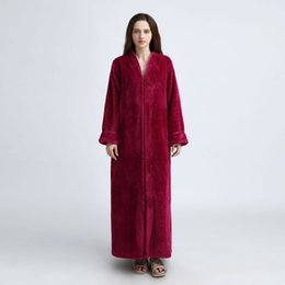 6eb22ae6df EFINNY Extra Long Warm Flannel Bathrobe Winter Women Men Front Zipper  Pokect Kimono Bath Robe Bridesmaid Dressing Gown Wedding