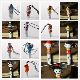 necklaces pendants Australia - 15 in 1 Cartoon Whistle Jingdezhen Ceramics Necklace Pendant Toy Gift For Kids Mixed Order Wholesale