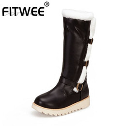 plush strap NZ - FITWEE 2020 Thick Bottom Women Winter Knee High Boots Plush Fur Warm Buckle Daily Boots Keep Warm Botas Footwear Size 34-43