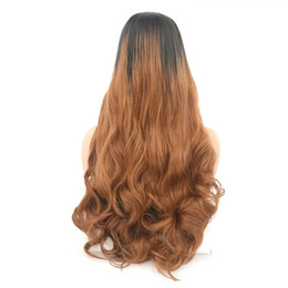 synthetic lace wigs free shipping UK - Long Blond Wavy Synthetic Wig For Women With Big Swap Bangs 22 Inch High Temperature Hair Free shipping Lace Front Wigs for Black Women