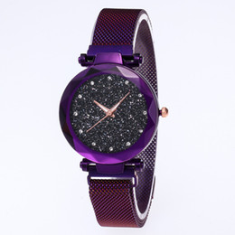 Resin magnets online shopping - Top Brand Watches For Women Rose Gold Mesh Magnet Buckle Starry Quartz Watch Geometric Surface Casual Women Quartz Wristwatch