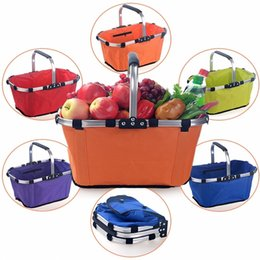 Collapsible Handle Australia - Foldable Shopping Basket Plastic Frame Waterproof Fabric Oxford cloth Collapsible Shopping Carts Vegetable Market Shop Handle Basket 010