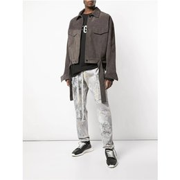 Short Slim lace online shopping - FOG Spring Mens Designer Casual Jackets Stand Collar Short Suede Lace Up Long Sleeve Shirt Jackets