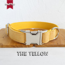 customized dog collars NZ - MUTTCO retailing handmade durable dog collar THE YELLOW customized dog ID tag collar anti-lost pet products supplies leash 5 sizes UDC077
