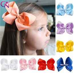 "$enCountryForm.capitalKeyWord Australia - 20 Pcs lot 40 Color 5"" Plain Ribbon Bow With Clip For Girls Kids Children Handmade Barrettes Hairgrips Hair Accessories J190507"