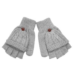cotton fingerless Canada - Fashion-2018 Fashion Gloves Women Mitten Warmer Women Winter Glove Fingerless Gloves Female Girls Clamshell Warm Half Finger Gloves