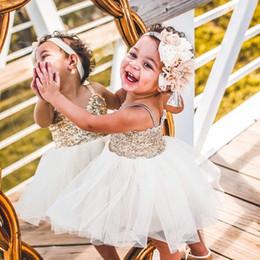$enCountryForm.capitalKeyWord Australia - Ivory Tulle Gold Sequin Flower Girl Dress for Wedding Princess Girls Tutu Pageant Dress Teen Birthday Party Baby First Holy Communion Dress