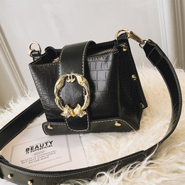 Fiber Fox Australia - Stone pattern bucket women bag leather designer fox Round Lock Rivet shoulder Alligator Crossbody bag Serpentine fashion handbag