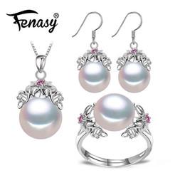 $enCountryForm.capitalKeyWord UK - Fenasy 925 Sterling Silver Natural Pearl Ruby Jewelry Sets For Women Vintage Dangle Earrings Bohemian Flower Necklace J190718