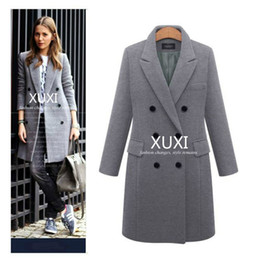 Wholesale XUXI Women Autumn Winter Coat Casual Wool Solid Jackets Blazers Female Elegant Double Breasted Long Coat Ladies Size XL FZ244