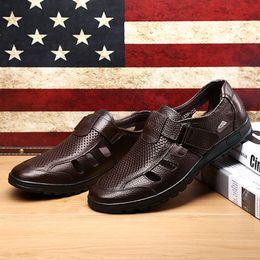 Brown Leather Clogs Australia - Men's Clogs Summer Hollow Leather Sandals Men Hook Loop Cozy Driving Shoes For Men Soft Brown Shoes Male Sandalia Hombre