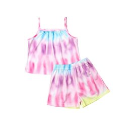 $enCountryForm.capitalKeyWord NZ - Cute Toddler Baby Girl Clothes Dress Summer 2 Styles Striped Ruffle Dress Tops Rainbow Two Pieces Set Tanks Shorts Kids Outfits