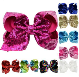 New baby hair online shopping - 42 color inch Jojo Glitter Sequin Bow Hairpin Baby Girls Ribbon Bubble Paillette Barrettes Kids Children Bling Hair Clip Hair Accessory New