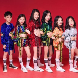 $enCountryForm.capitalKeyWord NZ - 3 PCS Kids Sequined Hip Hop Clothing Coat Tops Pants Boys Jazz Dance wear Costumes Kids Stage wear Ballroom Dancing Clothes
