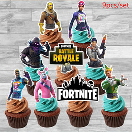 Design Cakes Cupcakes Australia - New Design Fortnight Game Decoration Happy Birthday Cake Flag Fortress Night Party Decor Cupcake Toppers 9pcs set