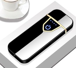 electronic bbq lighters NZ - USB Electronic Fingerprint Touch Induction Charging Lighter Wind-proof Creative Individual Cigarette Lighter Carton