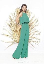 silk mother bride dresses UK - 2019 Newest Off-Shoulder Long Wide Legged Pants Bride Suits 2 Pieces Sleeveless Bride Dresses Applique Green Mother Pants Custom Made