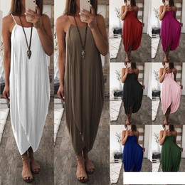 $enCountryForm.capitalKeyWord Australia - Women Beach Dresses Summer Sleeveless Spaghetti Strap Sexy Knitted Loose Irregular Solid Color Plus Size Women Clothing For Long Dresses