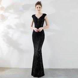 $enCountryForm.capitalKeyWord Australia - Elegant Black V Neck Evening Dreses 2019 Short Sleeves Beaded Sequins Mermaid Long Cheap Plus Size Party Prom Dresses